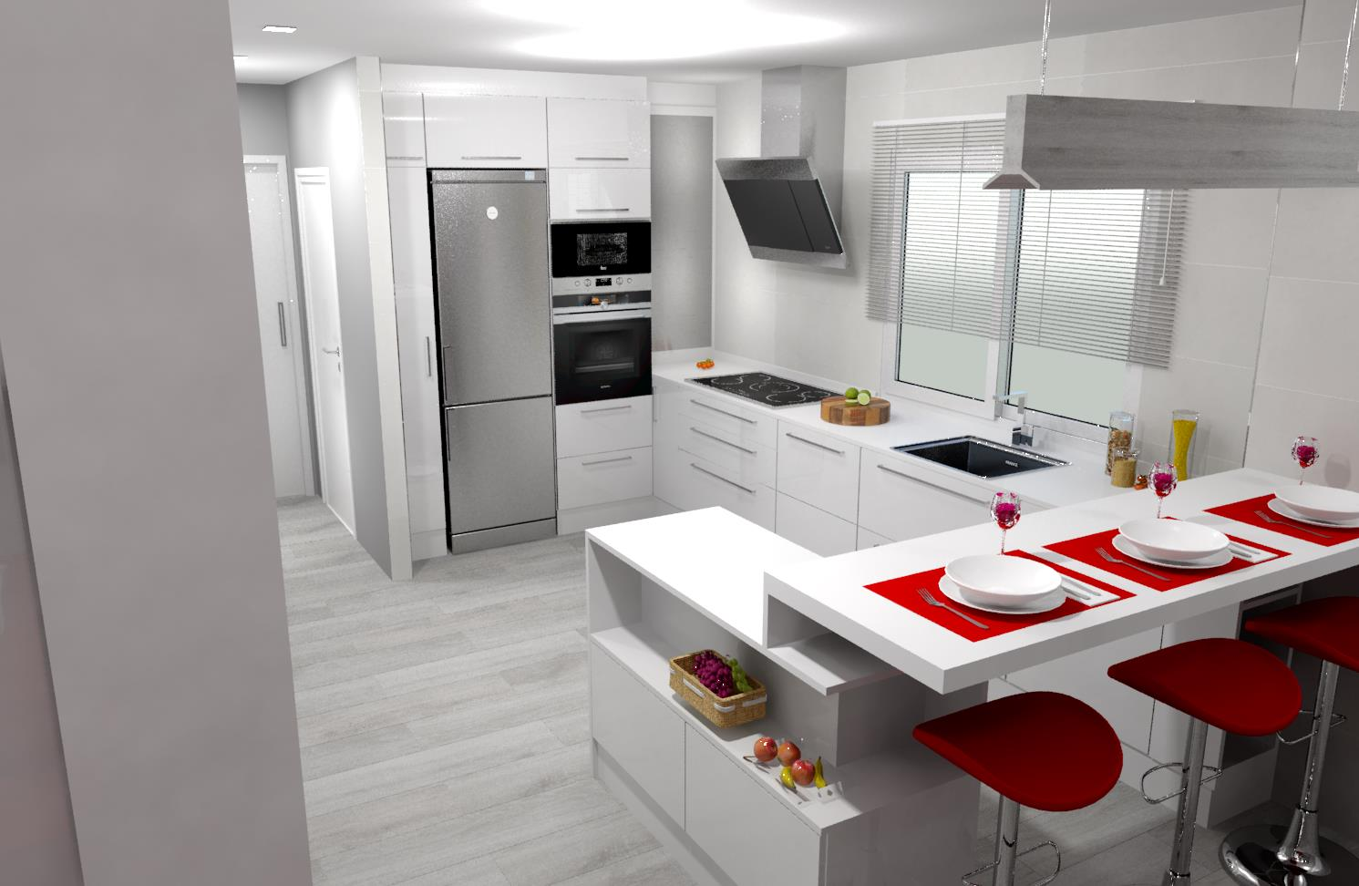 Cocina integrada con salon reforma y dis eo ourense emagres s l - Cocinas ourense ...